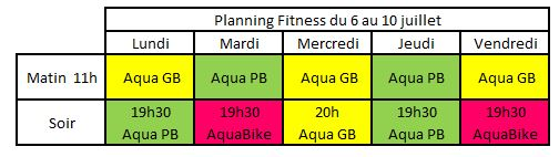 Planning Aquagym AquaBike du 6 au 10 juillet