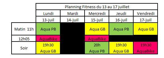 Planning Aquagym AquaBike du 13 au 17 juillet