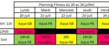 Planning Aquagym AquaBike du 20 au 24 juillet