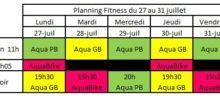 Planning Aquagym Aquabike du 27 au 31 jullet