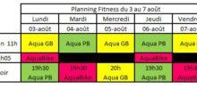 Planning Aquagym Aquabike du 3 août au 7 août