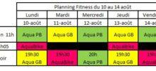 Planning Aquagym Aquabike du 10 août au 14 août