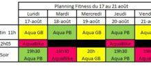Planning Aquagym et Aquabike du 17 août au 21 août