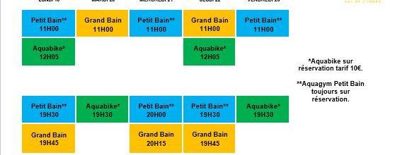 Planning Aquagym et AquaBike semaine 43